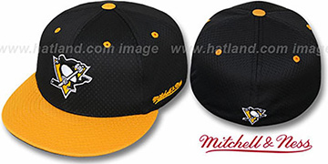 Penguins '2T BP-MESH' Black-Gold Fitted Hat by Mitchell and Ness