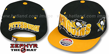 Penguins '2T FLASHBACK SNAPBACK' Black-Gold Hat by Zephyr