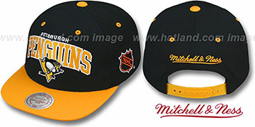 Penguins '2T TEAM ARCH SNAPBACK' Adjustable Hat by Mitchell & Ness