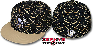 Penguins 2T TOP-SHELF Black-Old Gold Fitted Hat by Zephyr