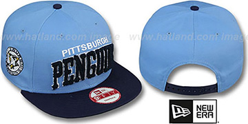 Penguins CHENILLE-ARCH SNAPBACK Sky-Navy Hat by New Era