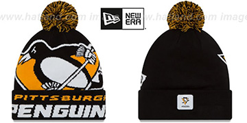 Penguins COLOSSAL-TEAM Black Knit Beanie Hat by New Era