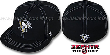 Penguins 'CONTRAST THREAT' Black Fitted Hat by Zephyr