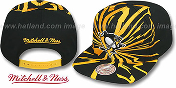 Penguins EARTHQUAKE SNAPBACK Black Hat by Mitchell and Ness