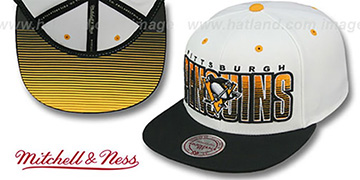 Penguins 'HOMESTAND SNAPBACK' White-Black Hat by Mitchell & Ness
