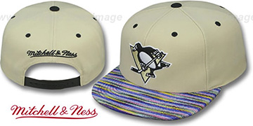 Penguins 'KNIT-WEAVE SNAPBACK' Cream-Multi Hat by Mitchell and Ness
