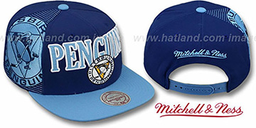 Penguins LASER-STITCH SNAPBACK Navy-Sky Hat by Mitchell & Ness