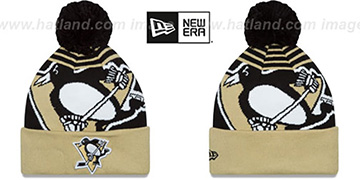 Penguins LOGO WHIZ Black-Gold Knit Beanie Hat by New Era