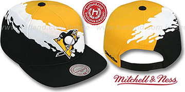 Penguins 'PAINTBRUSH SNAPBACK' Gold-White-Black Hat by Mitchell & Ness