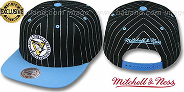 Penguins PINSTRIPE 2T TEAM-BASIC SNAPBACK Black-Sky Adjustable Hat by Mitchell & Ness