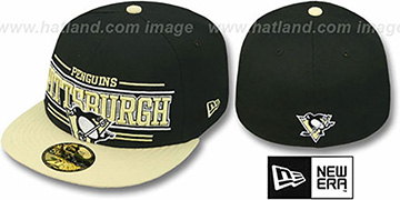 Penguins 'RETRO-SMOOTH' Black-Gold Fitted Hat by New Era