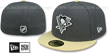 Penguins SHADER MELT-2 Grey-Gold Fitted Hat by New Era