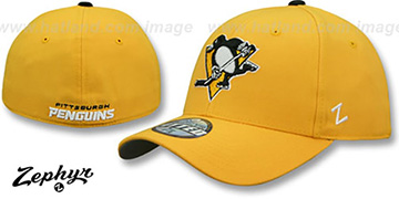 Penguins SHOOTOUT Gold Fitted Hat by Zephyr