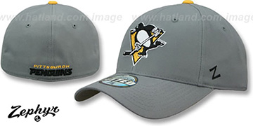 Penguins SHOOTOUT Grey Fitted Hat by Zephyr