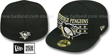 Penguins STAR STUDDED Black Fitted Hat by New Era