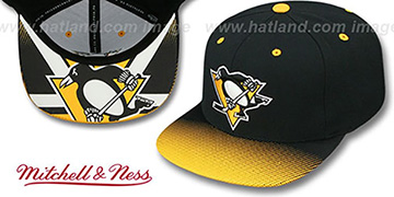 Penguins 'STOP-ON-A-DIME SNAPBACK' Black-Gold Hat by Mitchell and Ness