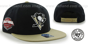 Penguins 'SURE-SHOT SNAPBACK' Black-Gold Hat by Twins 47 Brand