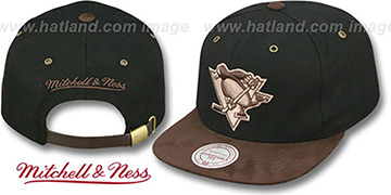 Penguins 'TC-BROWN SUEDE STRAPBACK' Hat Mitchell & Ness