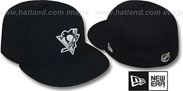 Penguins TEAM-BASIC Black Fitted Hat by New Era