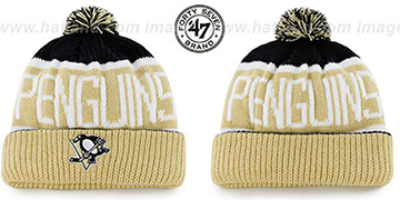 Penguins THE-CALGARY Gold-Black Knit Beanie Hat by Twins 47 Brand