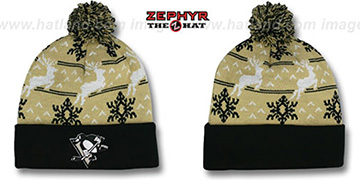 Penguins UGLY SWEATER Black-Gold Knit Beanie Hat by Zephyr
