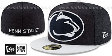 Penn State HEATHER-HUGE 2 Navy-White Fitted Hat by New Era