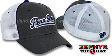 Penn State 'SCRIPT-MESH' Fitted Hat by Zephyr - grey-white
