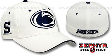 Penn State TRIPLE THREAT White Fitted Hat by Zephyr