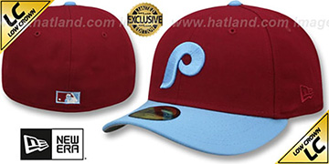 Phillies 1973-86 LOW-CROWN VINTAGE Burgundy-Sky Fitted Hat by New Era