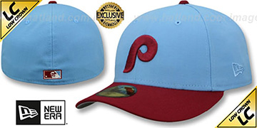 Phillies 1973-86 LOW-CROWN VINTAGE Sky-Burgundy Fitted Hat by New Era