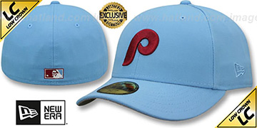 Phillies 1973-86 LOW-CROWN VINTAGE Sky Fitted Hat by New Era