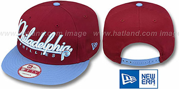 Phillies 2T COOP CHARZ SNAPBACK Burgundy-Sky Hat by New Era