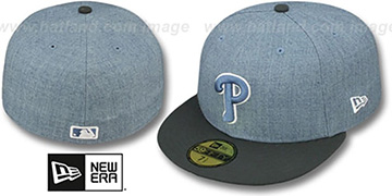 Phillies '2T-HEATHER' Blue-Grey Fitted Hat by New Era