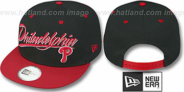 Phillies '2T MLB RETRO-WORD SNAPBACK' Black-Red Adjustable Hat by New Era