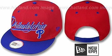 Phillies '2T MLB RETRO-WORD SNAPBACK' Red-Royal Adjustable Hat by New Era