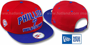 Phillies 2T PAYDIRT SNAPBACK Red-Royal Adjustable Hat by New Era