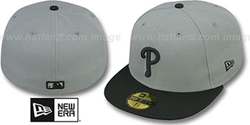 Phillies '2T TEAM-BASIC' Grey-Black Fitted Hat by New Era