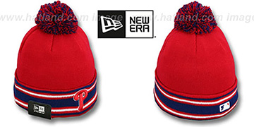 Phillies 'AC-ONFIELD' Red Knit Beanie Hat by New Era