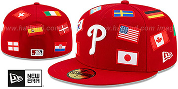 Phillies 'ALL-OVER COUNTRY FLAGS' Red Fitted Hat by New Era