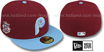 Phillies BAYCIK Burgundy-Sky Fitted Hat by New Era