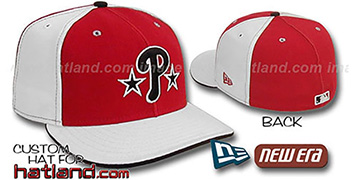 Phillies BP 'PINWHEEL-3' Red-White Fitted Hat by New Era