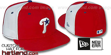 Phillies BP 'PINWHEEL' Red-White Fitted Hat by New Era