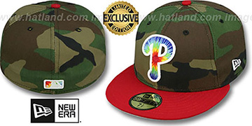 Phillies CAMO TYE-DYE INSIDER Army-Red Fitted Hat by New Era