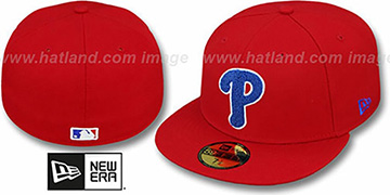 Phillies 'CHENILLE APPLIQUE' Red Fitted Hat by New Era