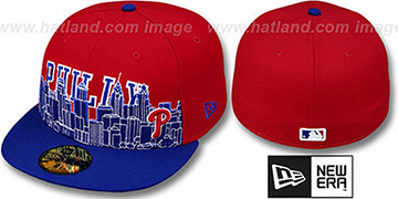 Phillies 'CITY-LINE' Red-Royal Fitted Hat by New Era