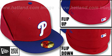 Phillies CLEAN CUT FLIP-DOWN Red-Royal Fitted Hat by New Era