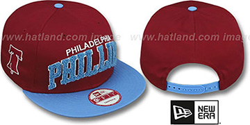 Phillies COOP CHENILLE-ARCH SNAPBACK Burgundy-Sky Hat by New Era