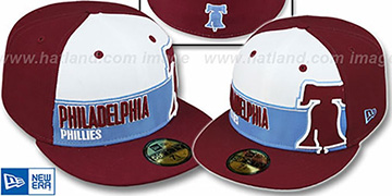 Phillies COOP 'FOUL BALL' White-Burgundy Fitted Hat by New Era