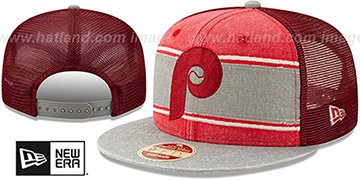 Phillies COOP HERITAGE-BAND TRUCKER SNAPBACK Red-Grey Hat by New Era