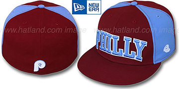 Phillies COOP JMACK ARCH Burgundy-Sky Fitted Hat by New Era